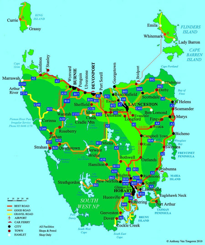map of tasmanian major roads. roads of tasmania  tasmania  pinterest  tasmania and road trips