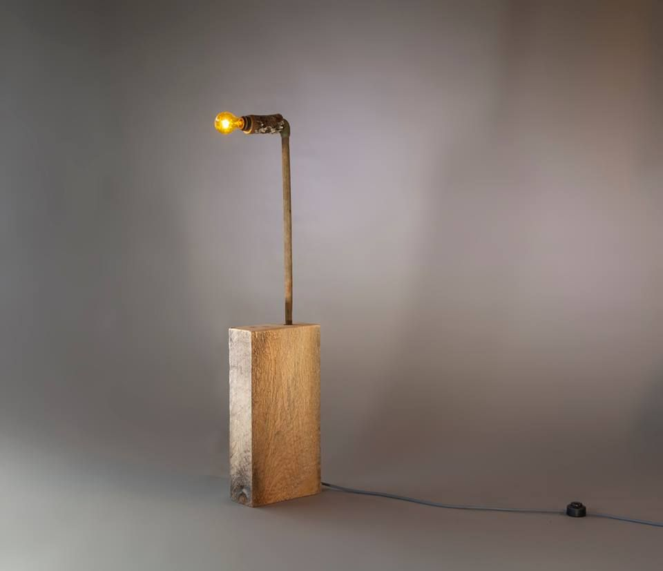 Lamp 3 foot 7 - rough hewn . tree piece . copper . wire + bulb ...