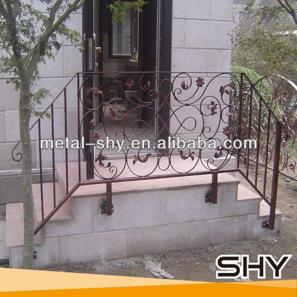 Outdoor Wrought Iron Stair Railing Lowes Wrought Iron Railings For | Handrails For Concrete Steps Lowes | Aluminum | Fiberglass | House | Simple | 1 Step