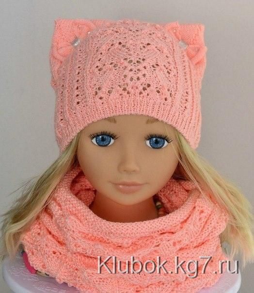 Ажурная шапочка с ушками   Клубок   Вяжем детям   Pinterest ...