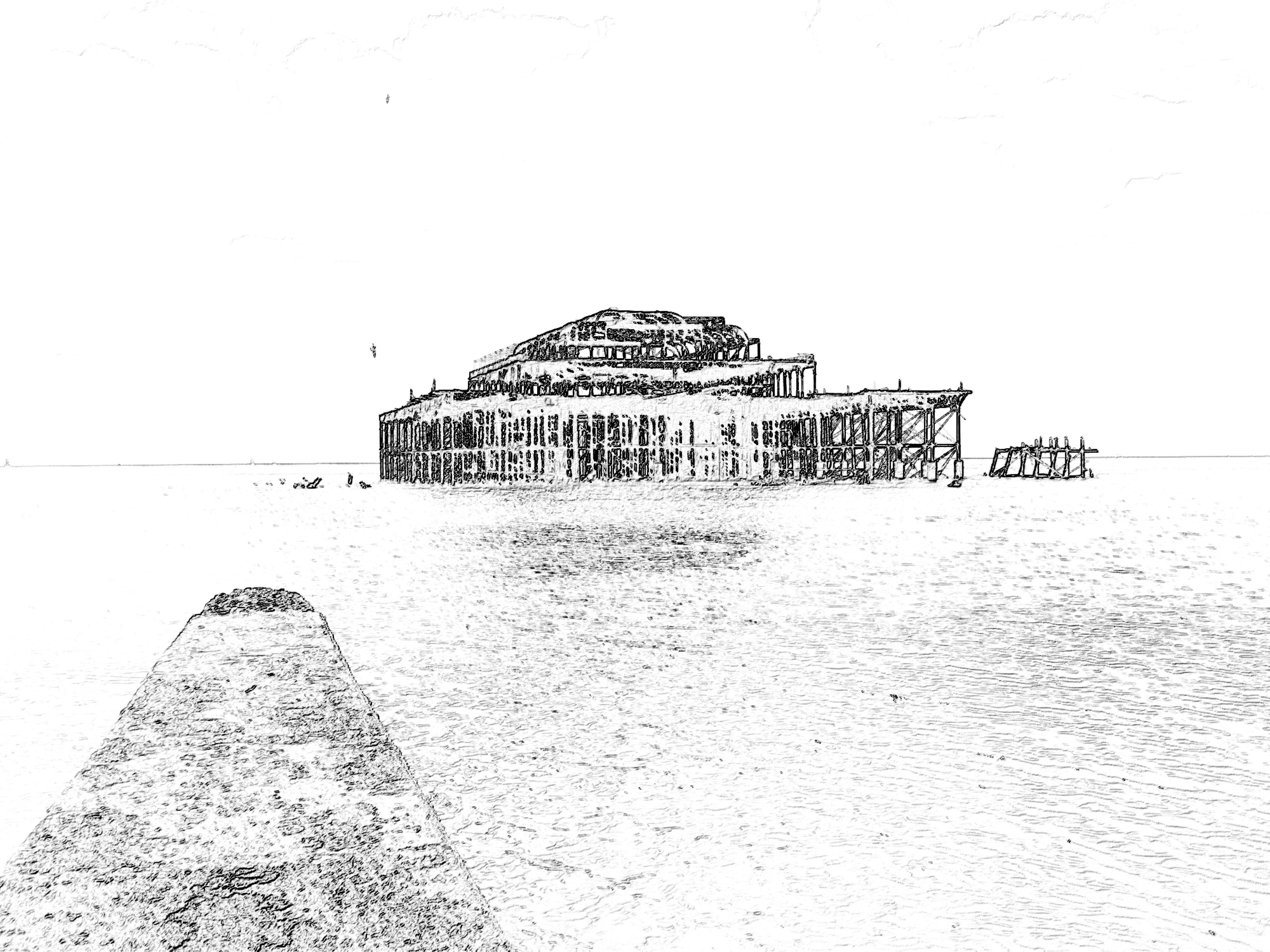 Brighton burnt out Pier, England.