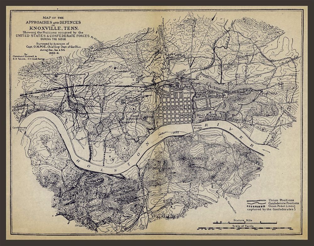 1863 MAP, Civil War, Knoxville, Tennessee, Military, antique, 24