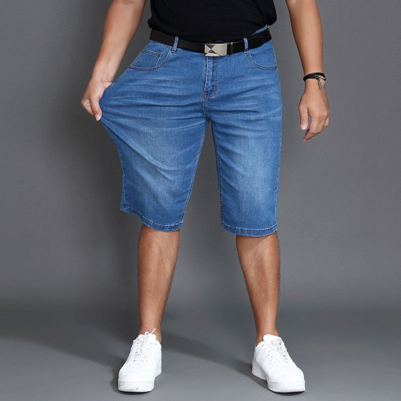>> Click to Buy << Plus Size Elastic Short Jeans Men Summer Slims Denim Casual Mens Shorts Fashion Mid Waist Shorts Men Fat Waist Trousers #Affiliate