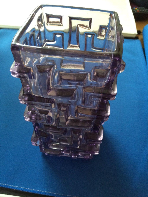 1968 Jiri Brabec Rosice Sklo Union Pressed Glass Maze Purple Vase Czech