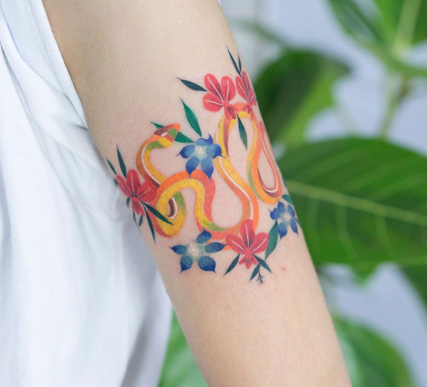 Colorful Snake Art Zihee Tattoo Skin Color Tattoos Dark Skin