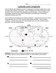 Latitude and Longitude Worksheet | Worksheets, Map skills and ...