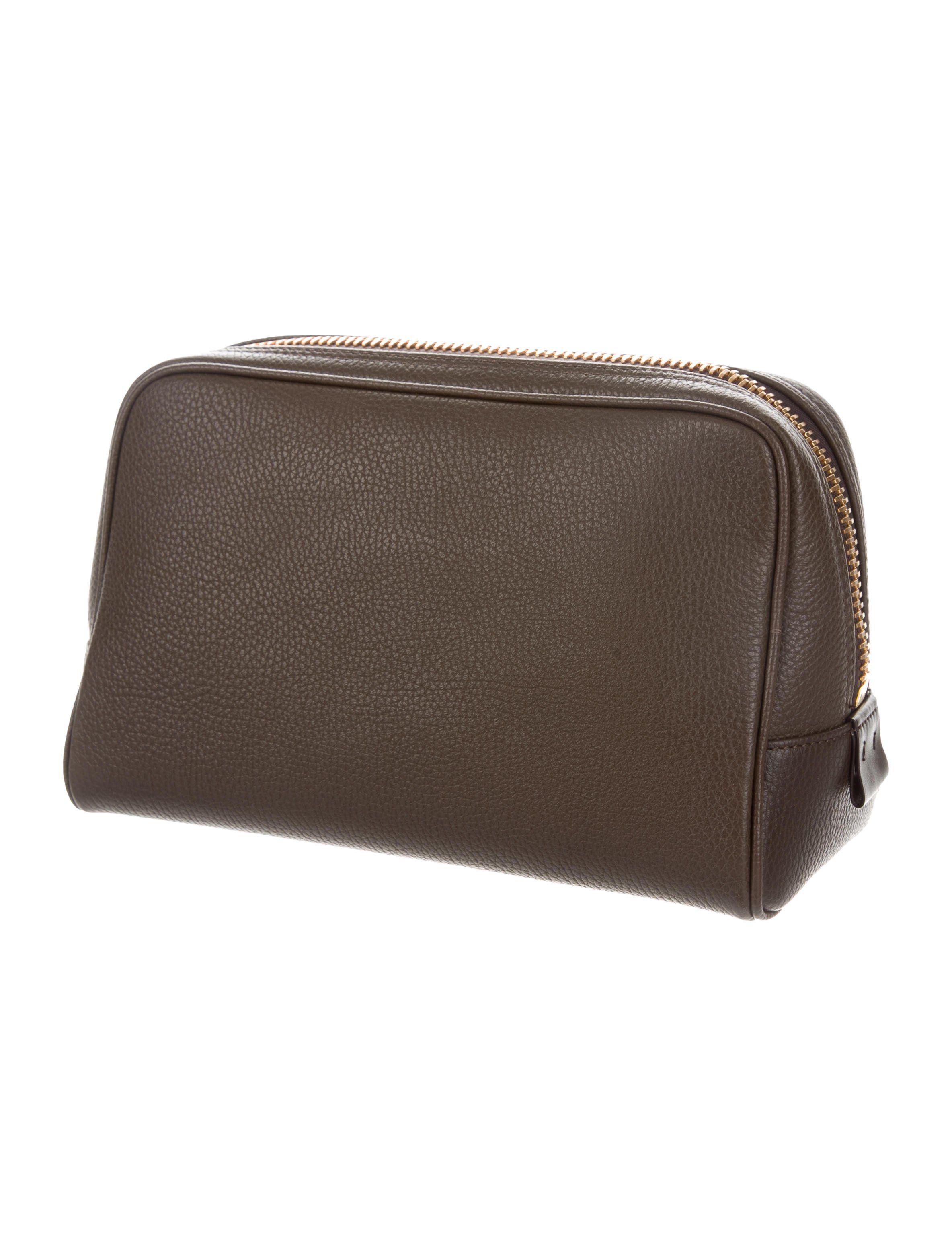 5ef6ed2af620 Men s olive brown pebbled leather Tom Ford pouch with gold-tone hardware