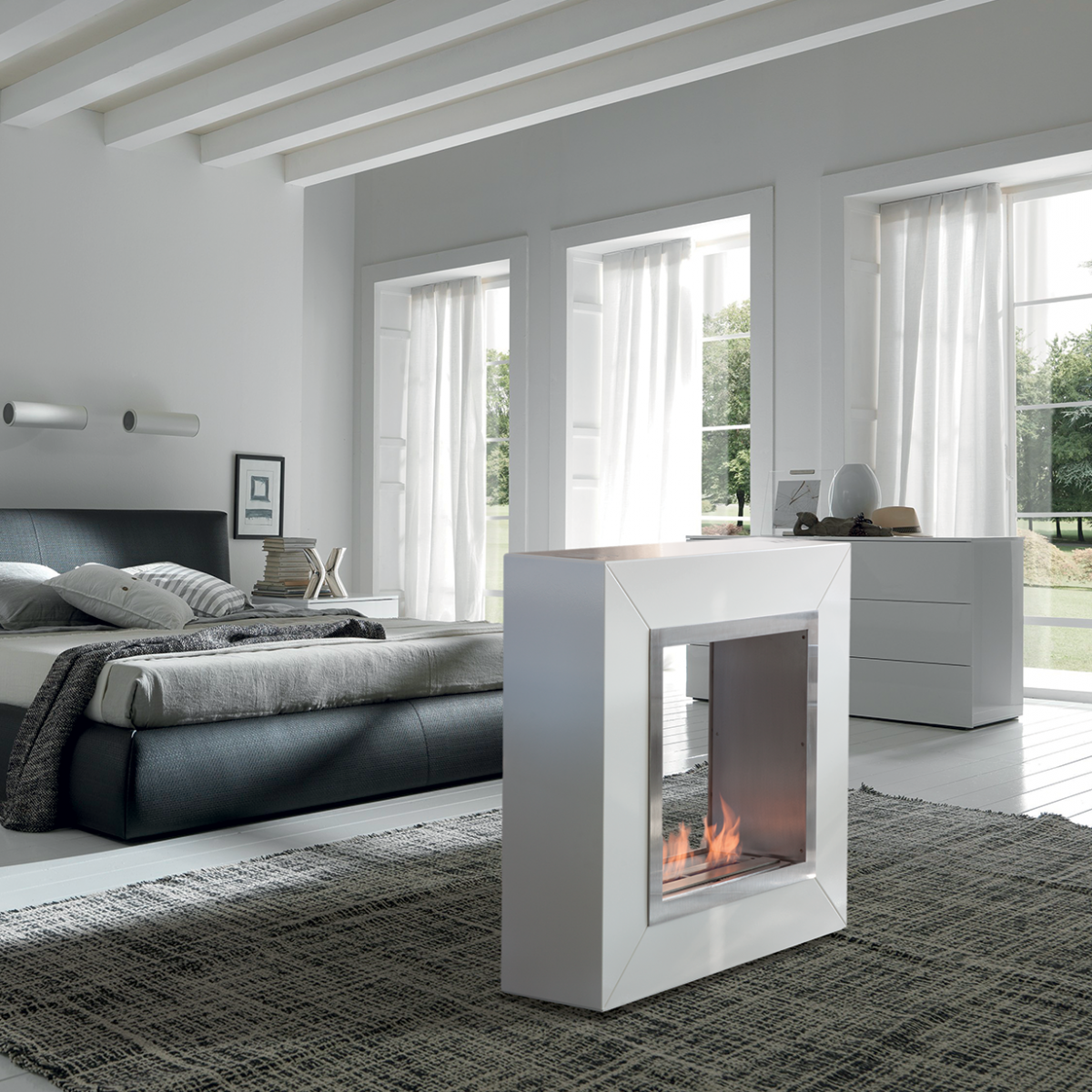 Square Fireplace 2880 Freestanding Fireplace Standing Fireplace Modern Interior