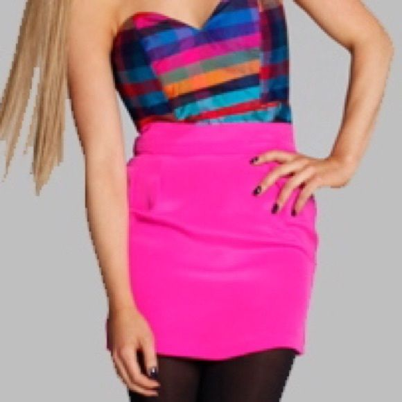 Hot Pop Pink NAVEN Skinny Mini Skirt XS Naven Skinny Mini Skirt in ...