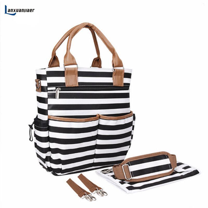 18cc43c3 Lanxuanjiaer baby diaper Nappy Bags fashion stripe Organizer  Multifunctional large capacity mummy tote Nursing bag for Mom