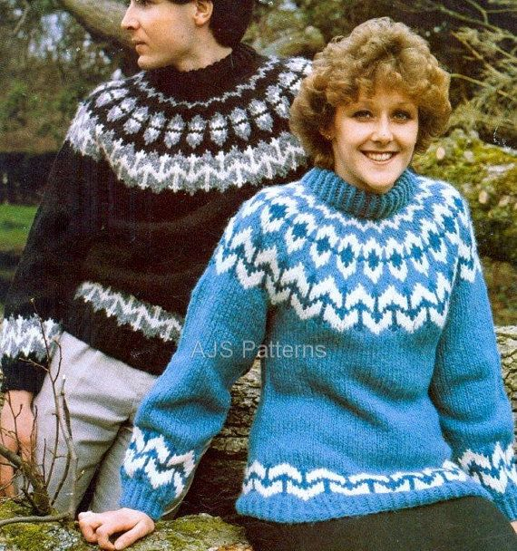 PDF Knitting Pattern for a Unisex Norwegian Fair Isle Sweater in ...