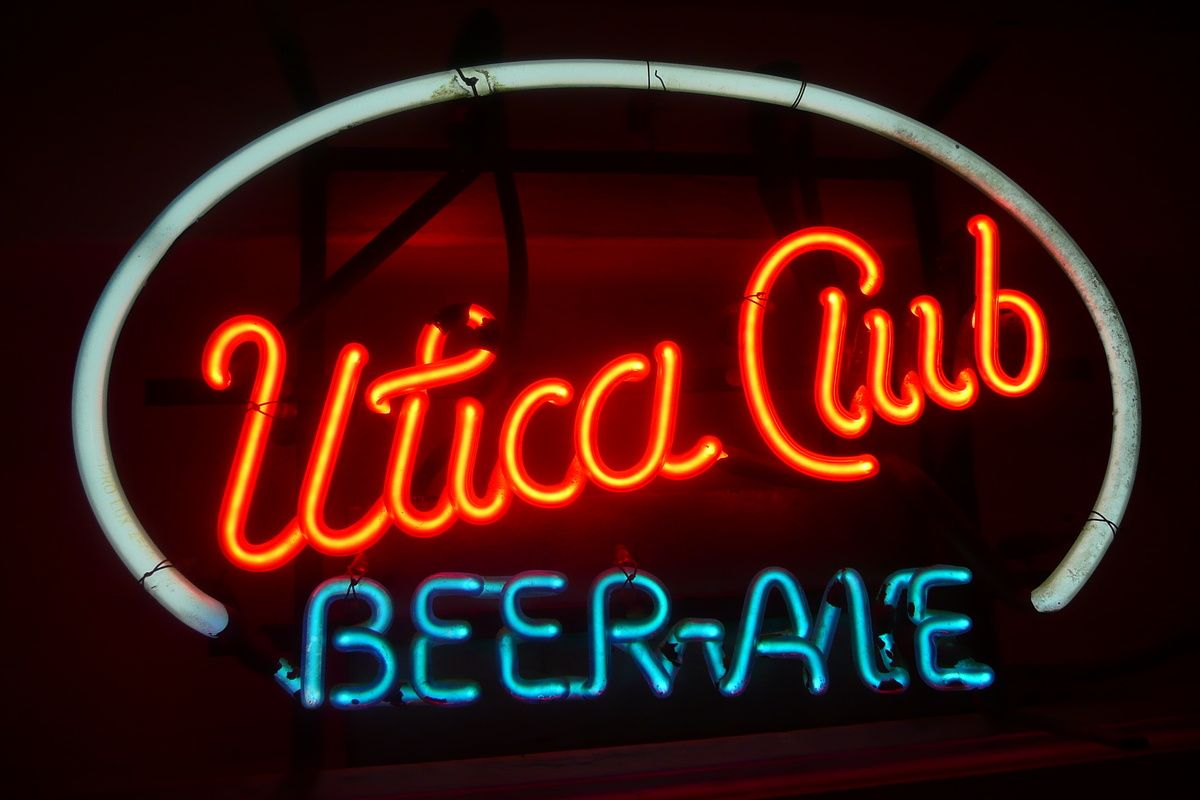 Utica Club Beer Ale Red White And Blue Neon Sign New York
