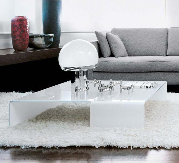Wohnzimmer Couchtisch Rechteckig Glas Weiss Niedrig