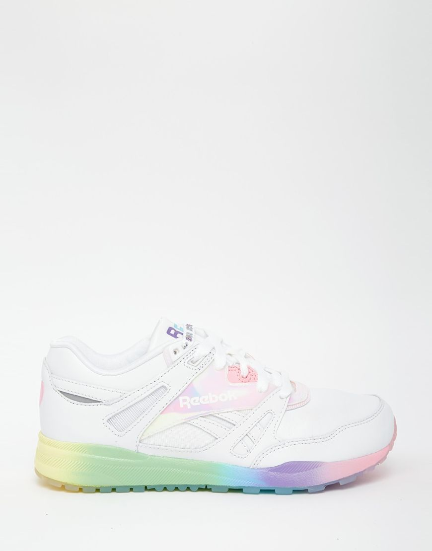 Details about  /Reebok Zig Kinetica White Blue Pink Women Running Shoes Sneakers Rainbow FW6155