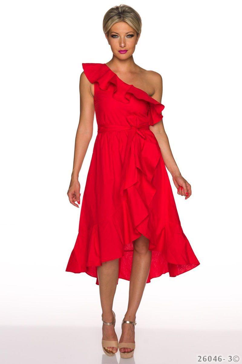 87bceffdb1df Ασύμμετρο μίντι φόρεμα με βολάν και έναν ώμο.Ύψος μοντέλου  1