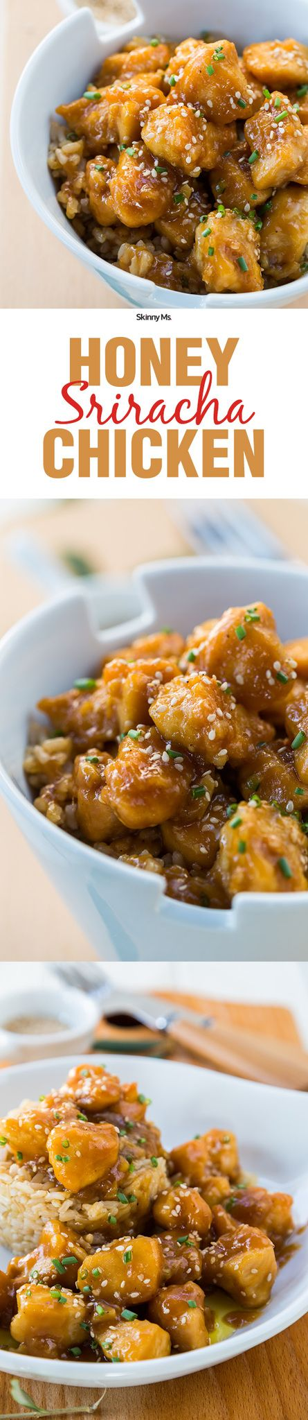 The perfect balance of sweet and spicy--Skinny Ms. Honey Sriracha Chicken!