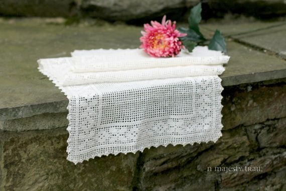 Crochet Lace 42 Table Runner. Vintage. by NorthMajestyTrail