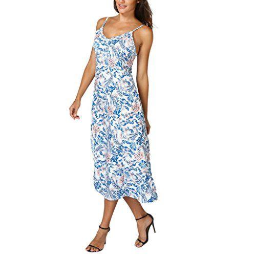 0a675b6f6cad8 Summer Dress $13.25 Boho Maxi Dress Floral Sundress for Women Summer Beach  Dress Evening Party Long Dresses (XL, Blue)