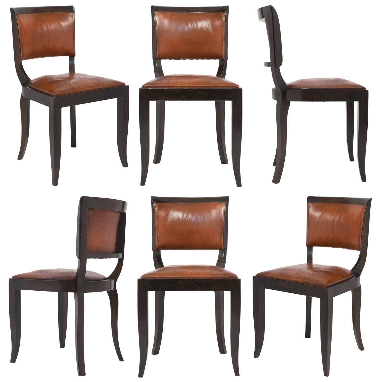 French Art Deco Set Of Six Leather Dining Chairs 1stdibs Com Dining Chairs Dining Room Chairs Modern Leather Dining Chairs
