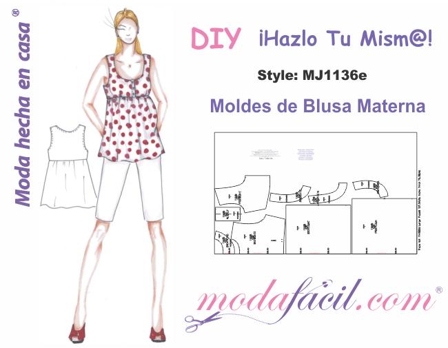 Descarga Gratis los Moldes de Blusa Materna disponibles en 12 tallas ...