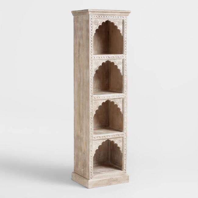 Hand Carved Wood Bookshelf