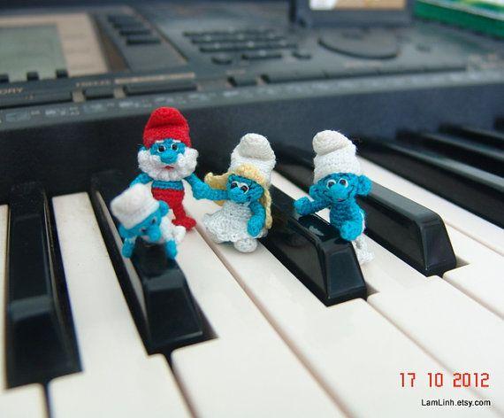 tiny crochet art smurf family 2 - Papa smurf - smurf and smurfette ...