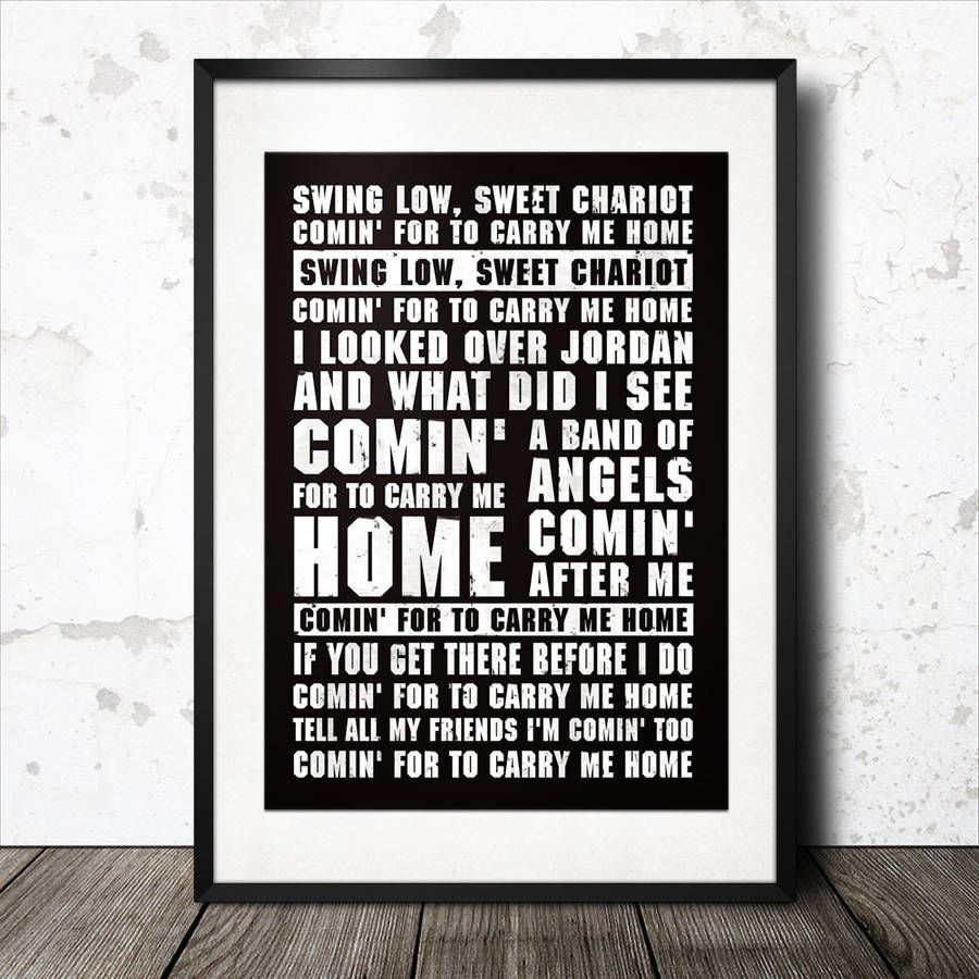 Swing Low Sweet Chariot Rugby Song Lyrics Poster With Images