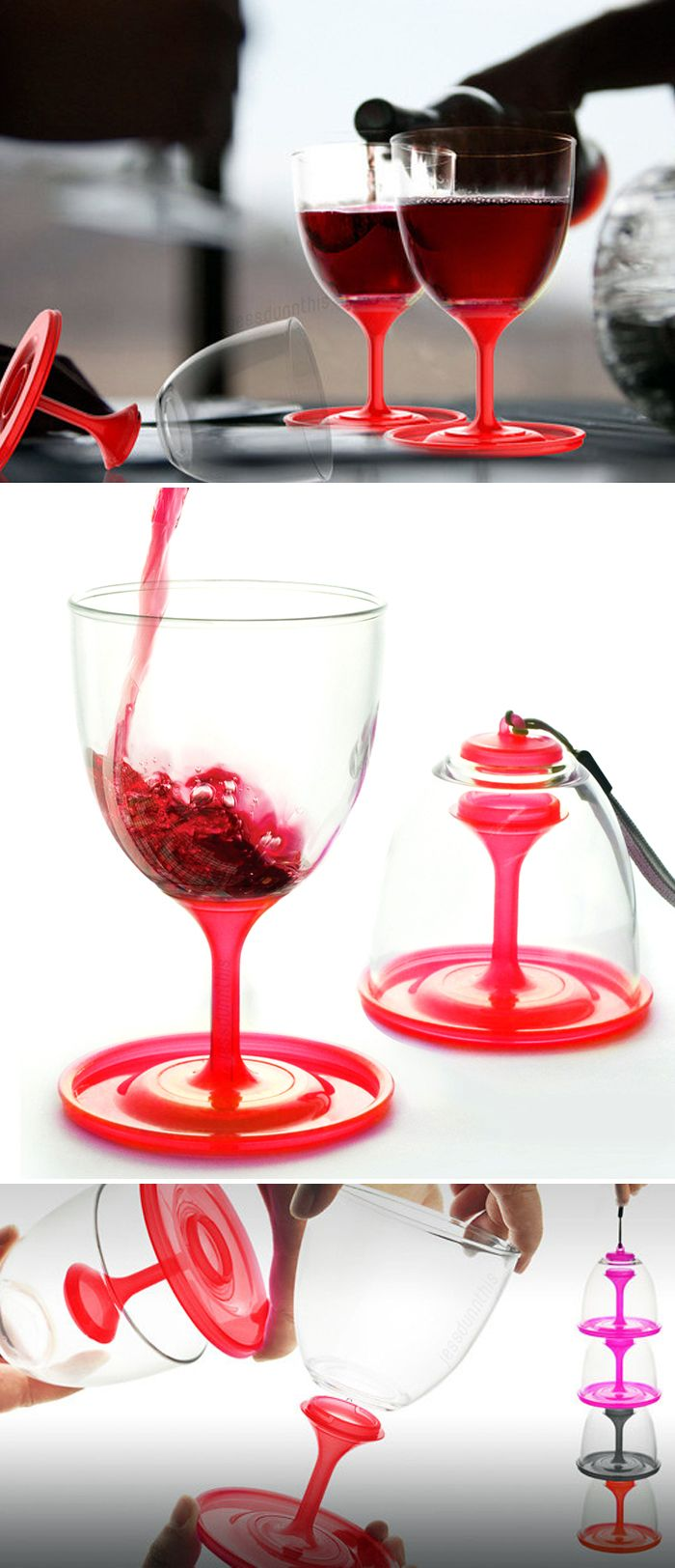 Stack N Go Travel Wine Glass Folds Up And Stacks For Easy Storage And Carrying Brilliant Product Design Wine Glass Set Plastic Wine Glasses Wine Glass