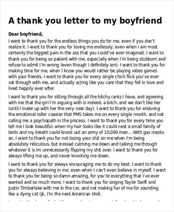 sample thank you letter boyfriend examples word pdf child the eight - boyfriend thank you letter sample
