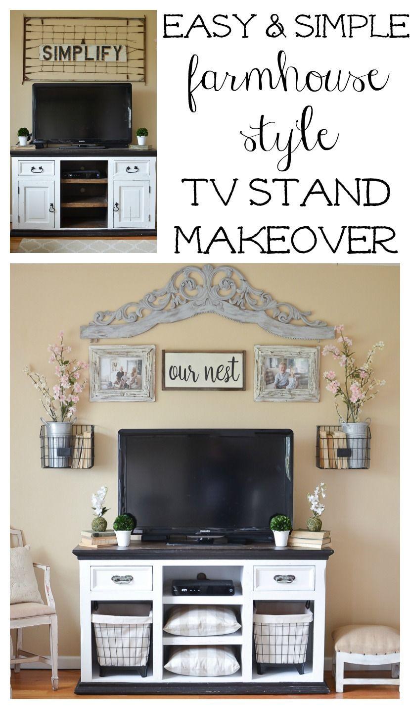 Easy Farmhouse Style TV Stand Makeover | Tv stand decor, Farmhouse ...