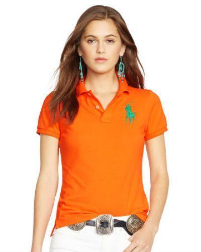 Ralph Lauren Women Alfalfa Green Orange Pony Classic-Fit Polo