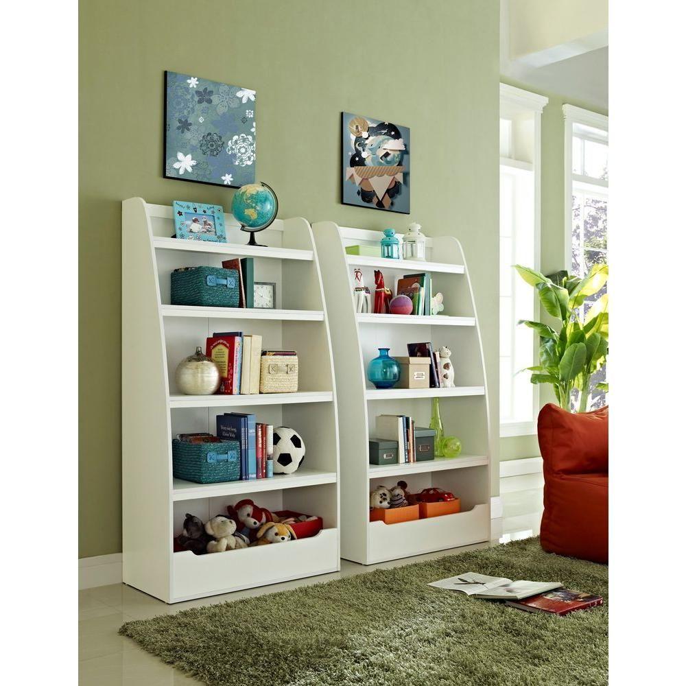 Kids 4 Shelf Bookcase In White 9627196