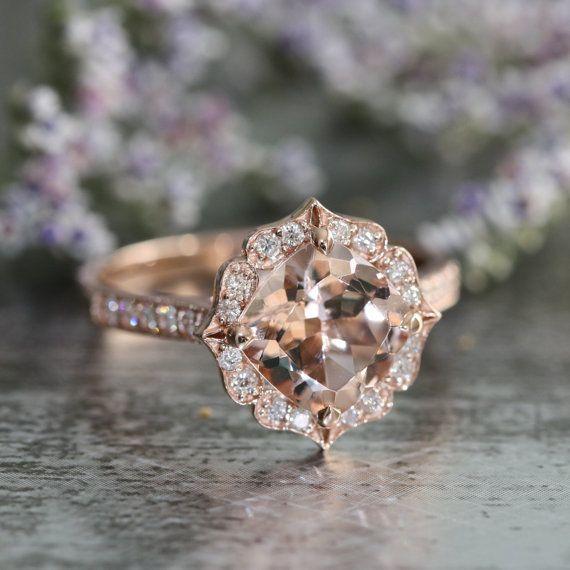 Elegant Vintage Floral Morganite Engagement Ring in Rose Gold Milgrain Diamond Wedding Band Cushion Morganite Ring Custom Made Ring ok