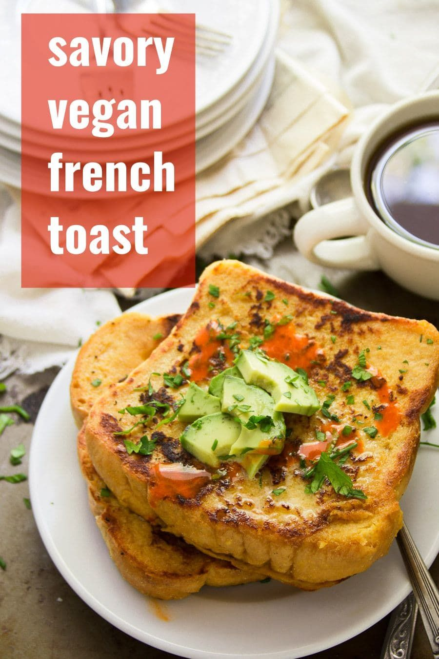 Fluffy Golden Crisp And Packed With Savory Flavor This Savory Vegan French Toast Made From Chickpea Flour Pu Savoury French Toast Vegan Brunch Savory Vegan