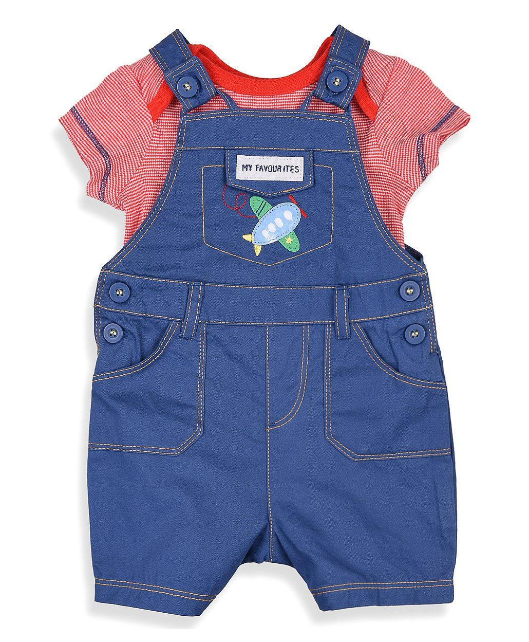 f3b2b8538 Buy Mothercare Dungaree With Inner Onesie Airplane Design Blue Red for Both  (0-3