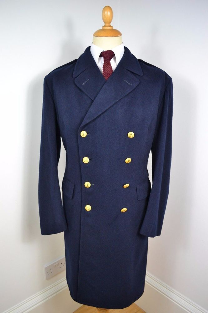 VINTAGE 1980s BLUE NAVY COAT PEA OVERCOAT WOOL WINTER LINING LARGE 44  REGULAR