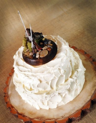 rustic Wedding Cake with Rustic Hunting theme Groom Cake topper  http://roxyheartvintage.com