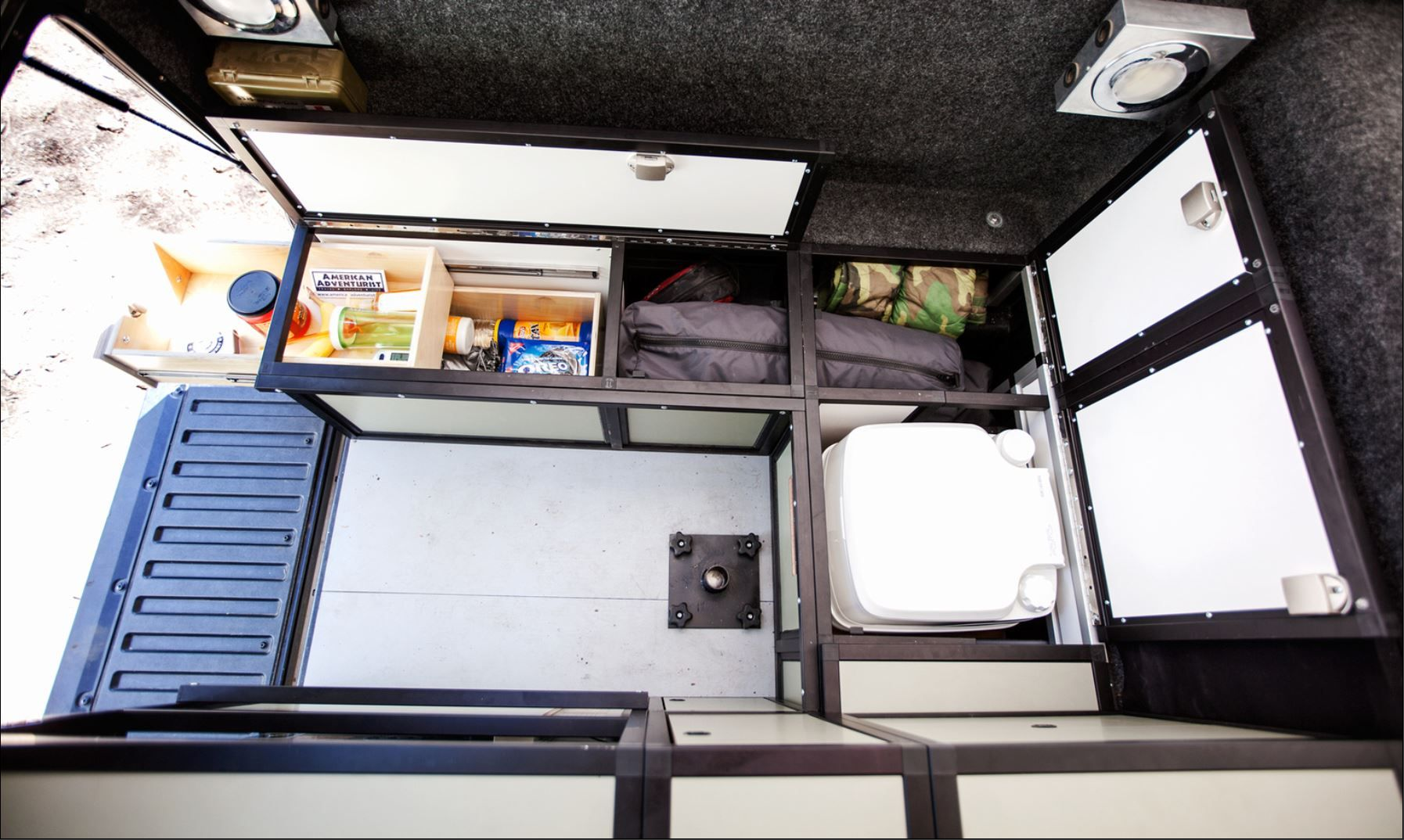 Goose Gear storage solutions view of cabinet interiors