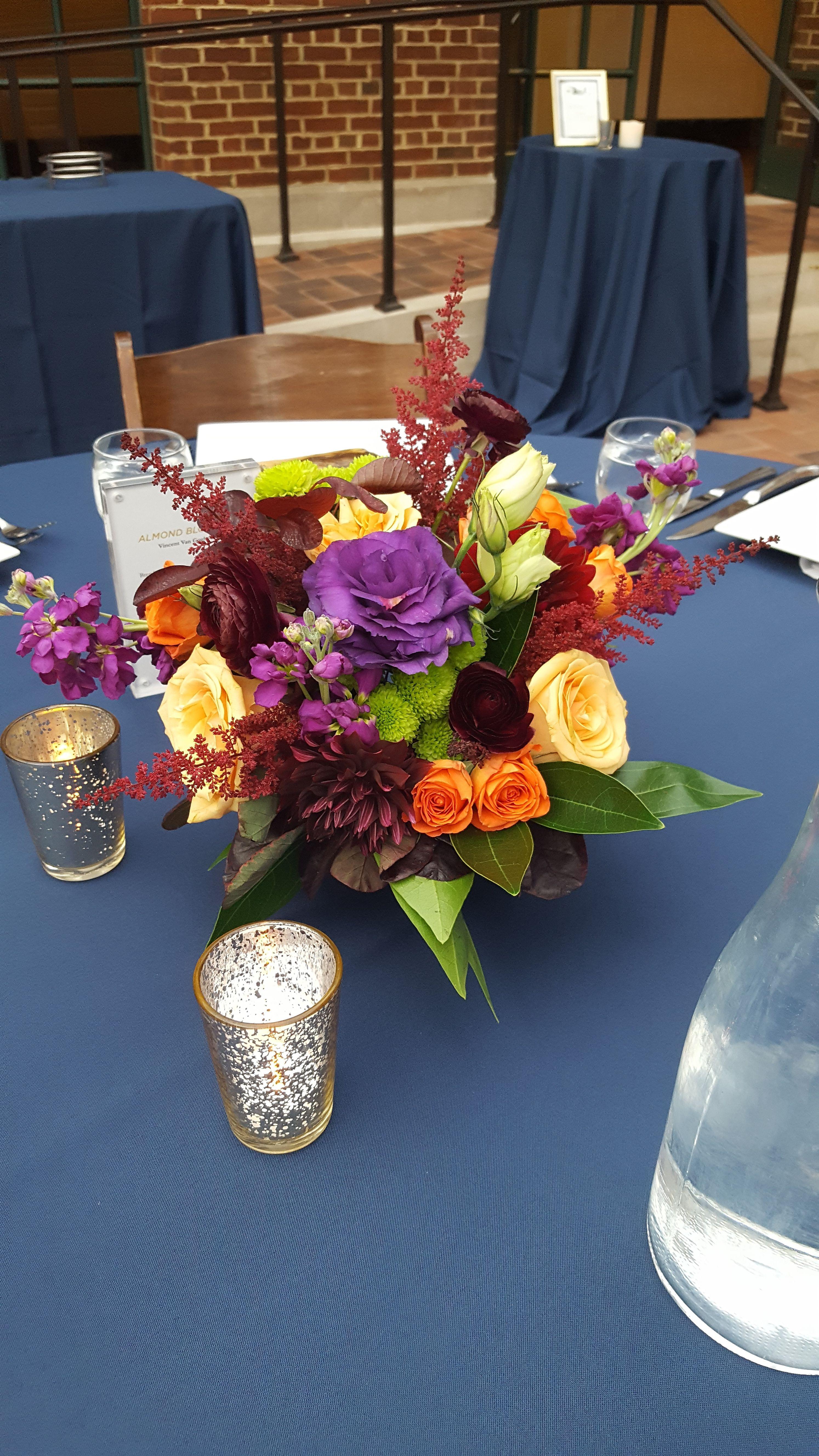 Burgundy, plum, burnt orange and yellow wedding
