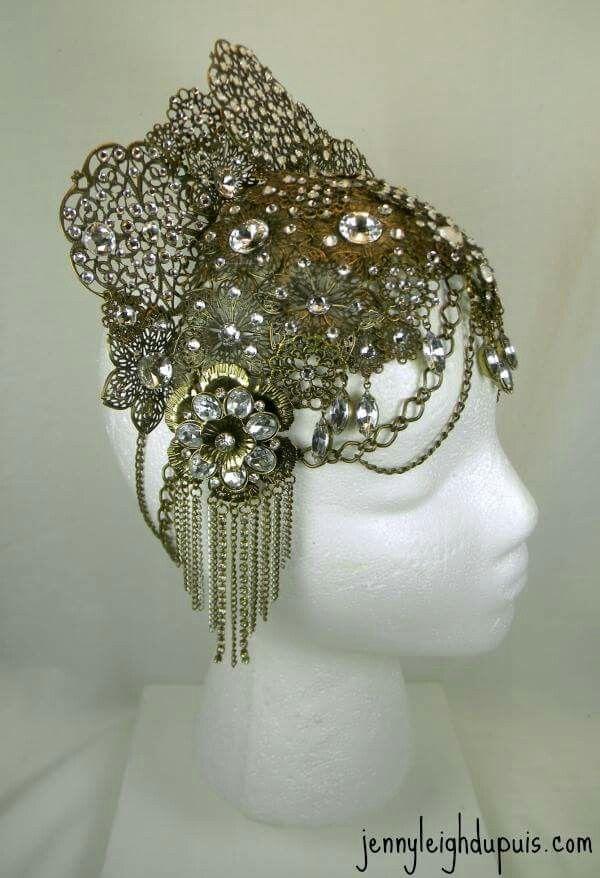 Bellydance Headpiece, Burlesque Headdress. Swarovskis aplenty! Currently for sale on Etsy! Jennyleighdupuis.etsy.com