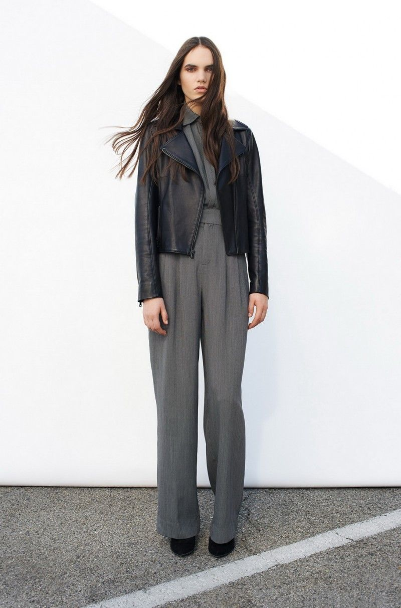 grey with leather. Perfect layers for fall