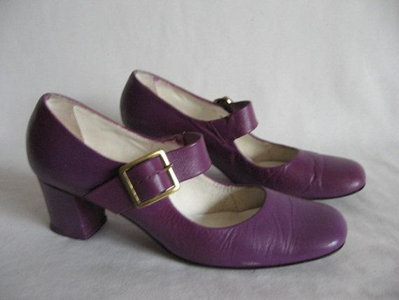 43de6acdae56 Vintage 60 s Mod purple Mary Janes Size 6.5N leather heels buckle shoes