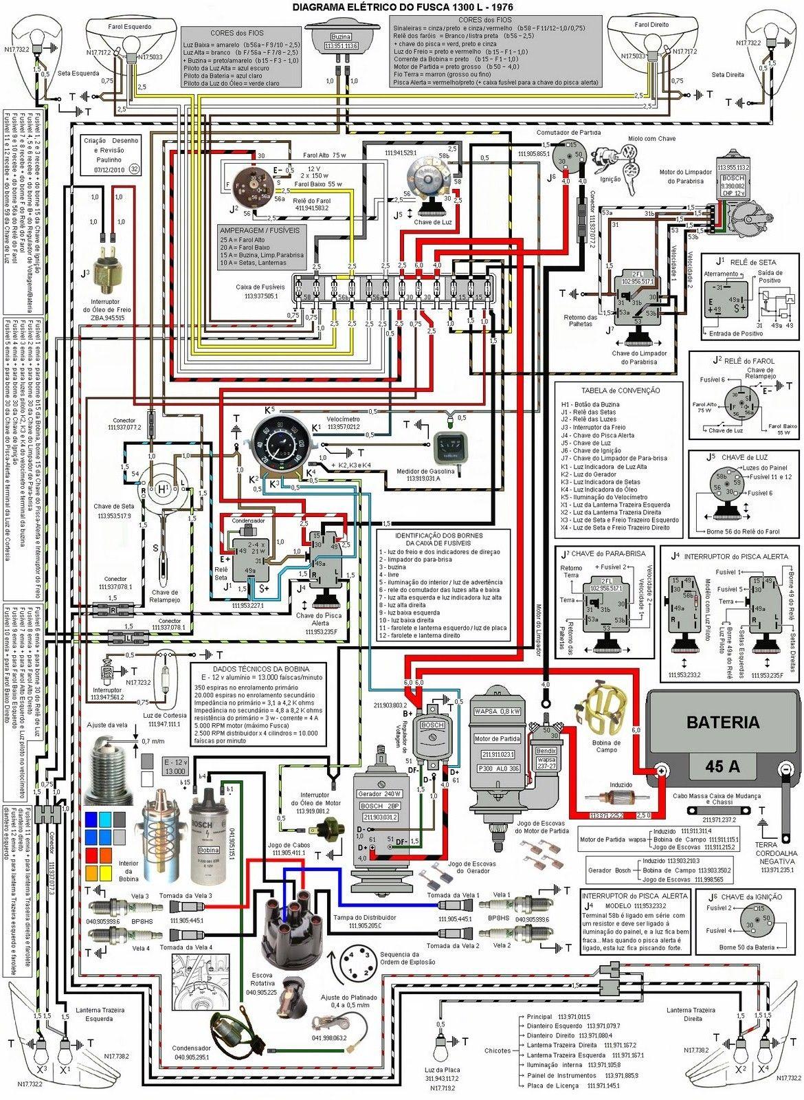 Esquema 12 Volts: Esquema Elétrico Fusca Completo | Volkswagen à Ar  Elétrica | Fusca eletrico