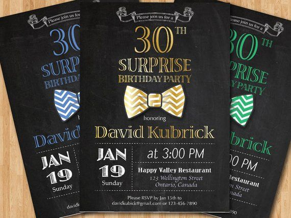 30th Birthday Invitation For Men Bowtie Little Man Invite Gold Blue Green Any Other 1st 4