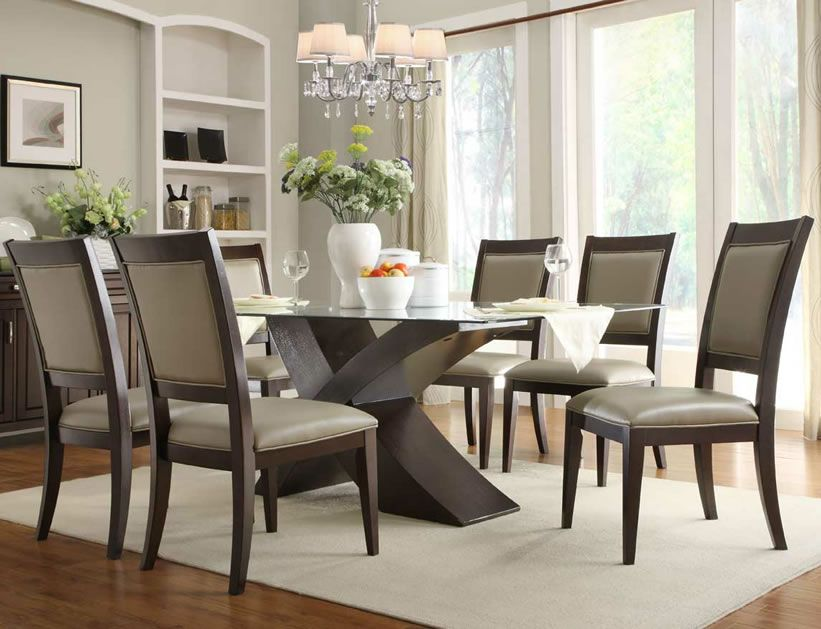 Glass dining room table set