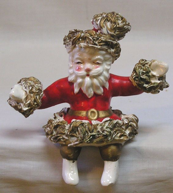 Vintage Christmas Santa Claus Shelf Sitter with THICK Spaghetti Art Trim Japan