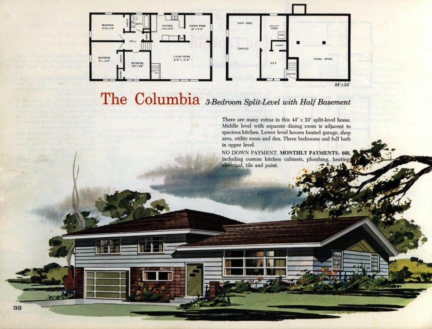 See 125 Vintage 60s Home Plans Used To Design Build Millions Of Mid Century Houses Across America In 2020 House Plans Mid Century House Split Level House Plans
