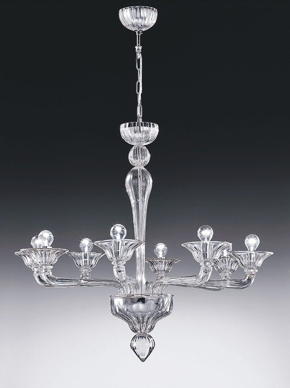 Rialto Handmade Glass Venetian 8 Arm Chandelier Shown In White