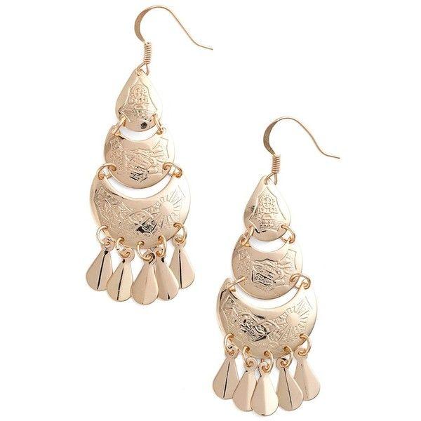 BP. Teardrop Chandelier Earrings ($12) ❤ liked on Polyvore featuring jewelry, earrings, gold, fringe earrings, boho earrings, bohemian chandelier earrings, teardrop earrings and boho chic jewelry