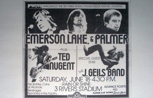 Emerson, Lake & Palmer Ted Nugent J. Geils Band Rare Concert Sheet Poster Print